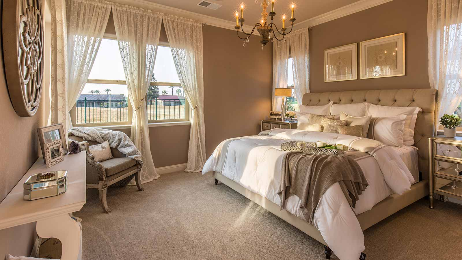 The muted neutral tones, combined with warm lighting, create a cozy atmosphere.