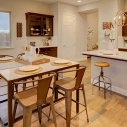 Dining nook, kitchen and isolated cabinet space