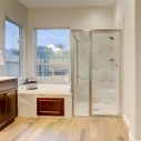 Owners bathroom with view of suite