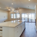 The large kitchen island with built-in wine rack.