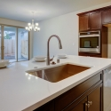 A view of the kitchen island, with built-in sink.