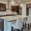 The spacious kitchen island in the kitchen.