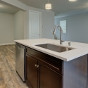 The kitchen island, with kitchen sink and built-in dishwasher.