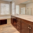 The owner's bathroom, with dual sinks, tiled-in bathtub, and step-in shower.
