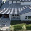 Aerial shot of the Aria Model Home at Copper River Ranch