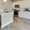 The kitchen, with large kitchen island.
