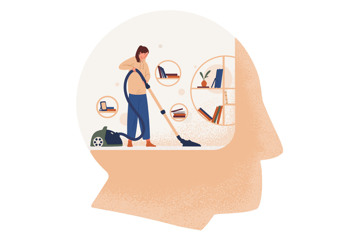 Imaginative illustration of a person cleaning inside of a large head, representing thinking about cleaning.