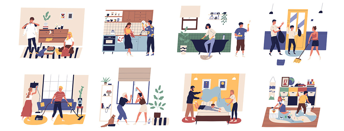 Illustrations featuring people working together, cleaning various rooms.