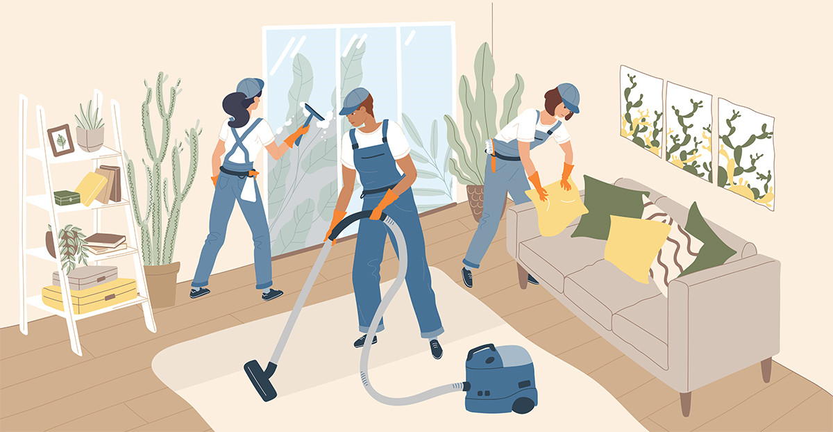 Illustration of a cleaning service cleaning up a living room.