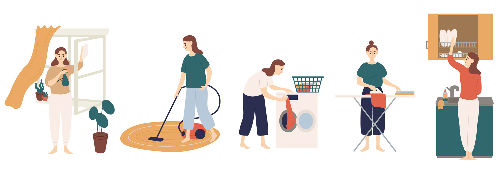 Illustrations of various cleaning tasks, such as washing windows, vacuuming, etc.