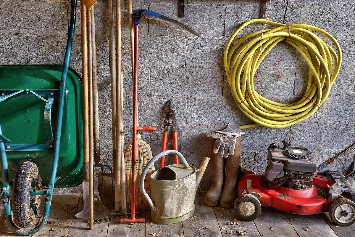 Garden tools lined up in a shed.