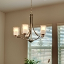 The pre-installed chandelier above the dining nook.