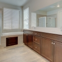 The owner's bathroom, featuring dual sinks, dark java cabinets, tiled-in soaking tub, and step-in shower.