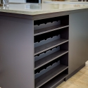 The built-in wine rack, located at the kitchen island.