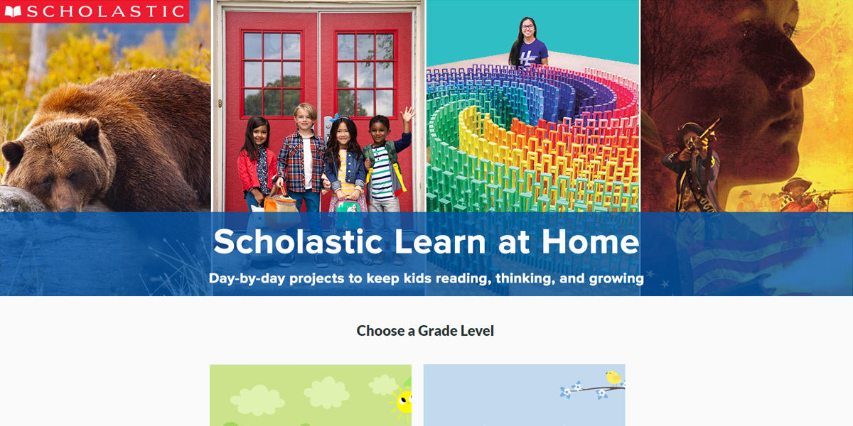 Screenshot of Scholastic Learn at Home website