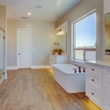 The owner's bath, featuring freestanding soaking tub, frameless glass wall shower, and white cabinets with under cabinet lighting.