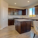 The kitchen, with large step-in corner pantry, large kitchen island, and dark java cabinets.