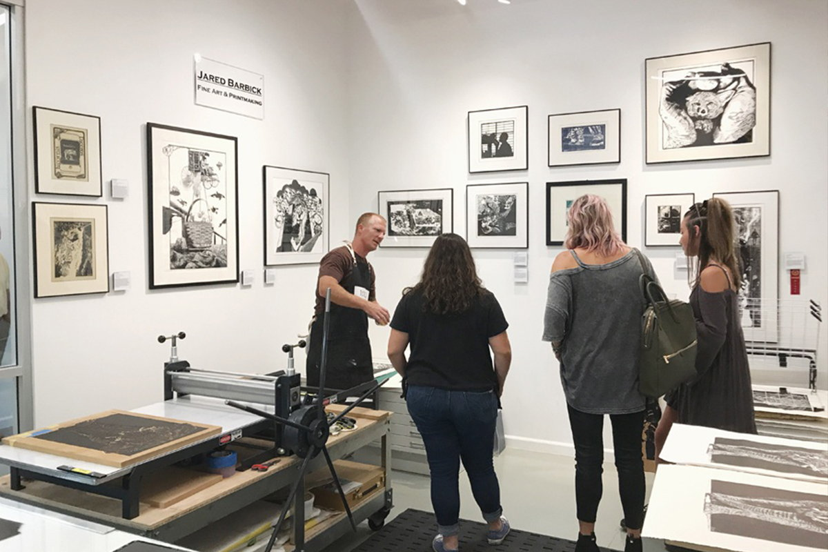 Local artist Jared Barbick showcases his art and his process during an ArtHop event at M Street Arts Complex.