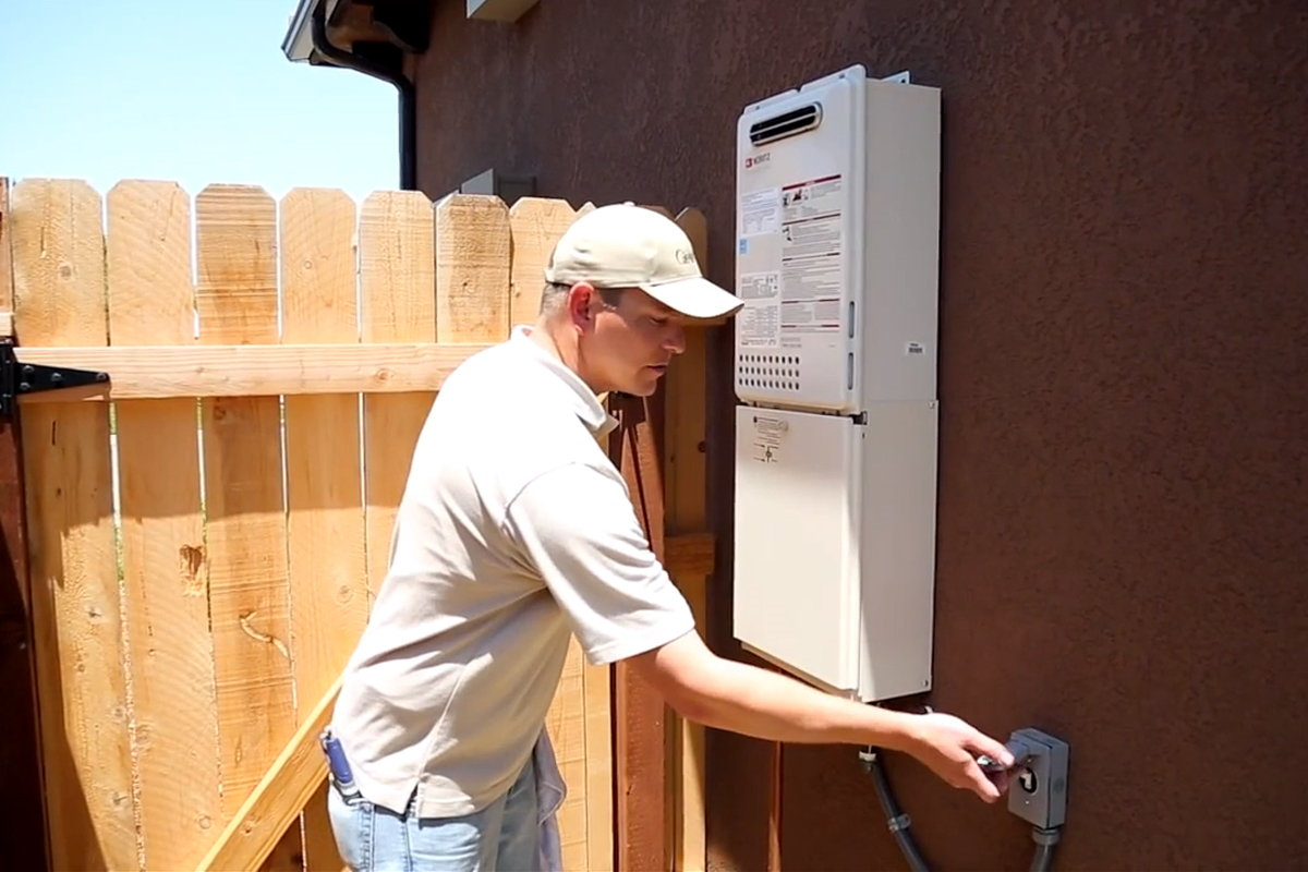 Shutting off the power to the tankless water heater.