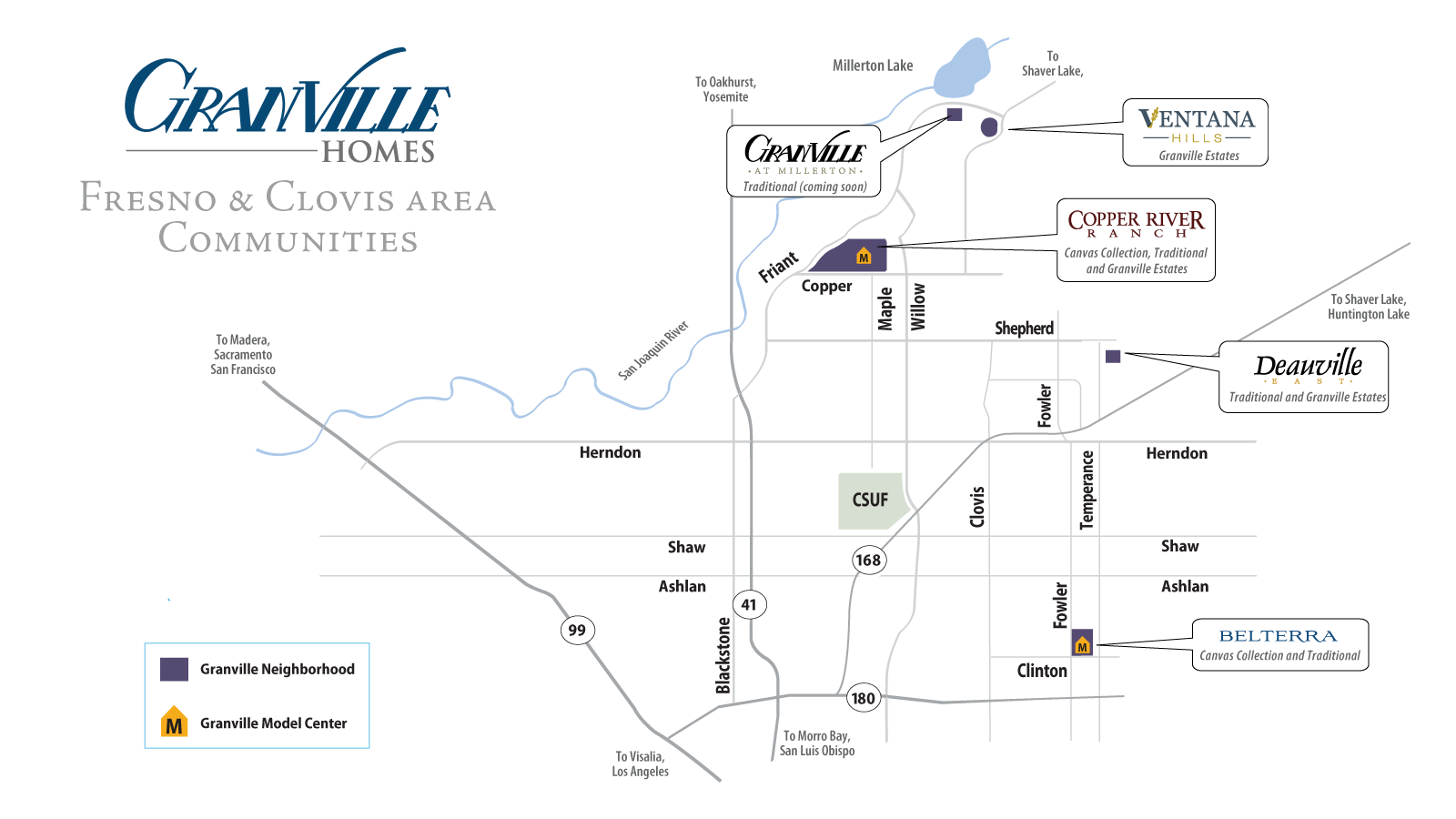Illustrated Map of Granville Home's Communities Across Fresno and the Surrounding Area